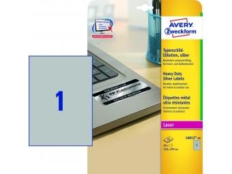 Avery Etikety polyesterové 210x297mm A4, strieborné, (bal=20 hár)