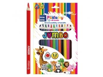 JUNIOR Pastelky Ocean World trojhrané JUMBO 12 ks + strúhadlo