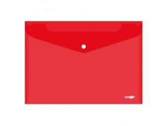 JUNIOR Obal s patentkou PP/A4, priehľadný/červený
