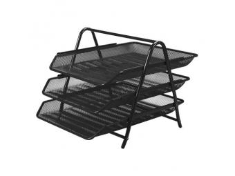 JUNIOR Drôtený stojan s 3 listovými zásuvkami, čierny