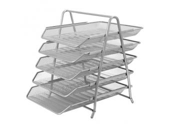 JUNIOR Drôtený stojan s 5 listovými zásuvkami, strieborný
