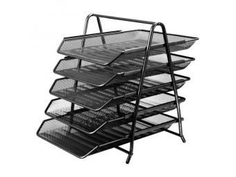 JUNIOR Drôtený stojan s 5 listovými zásuvkami, čierny