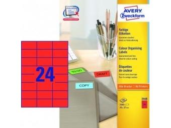 Avery Etikety univerzálne 70x37mm červené (bal=100hár)