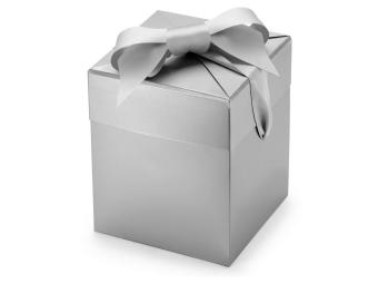 Darčeková krabička s mašľou 140x140x163 mm perleťovo sivá farba