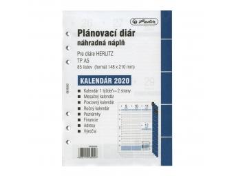 Herlitz Náhradná náplň do diára A5,kalendár 2020 týžd/2str.