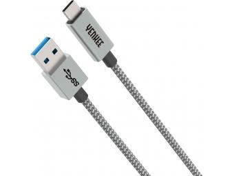 Yenkee YCU 311 GY USB 3.1 Gen 1 kábel synchronizačný a nabíjací USB A - USB C, dĺžka 1 m