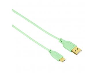 Hama 135786 USB-C kábel Flexi-Slim, typ A vidlica-typ C vidlica 0,75 m, zelený