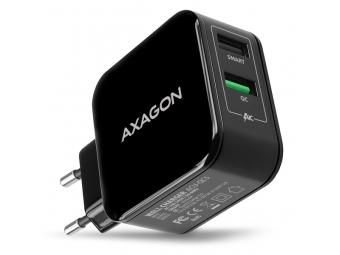 AXAGON ACU-QC5, QUICK a SMART nabíjačka do siete, 2x port QC3.0/AFC/FCP + 5V-2.6A, 31W