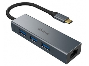 AKASA - USB Type-C 4-in-1 hub s Ethernetom