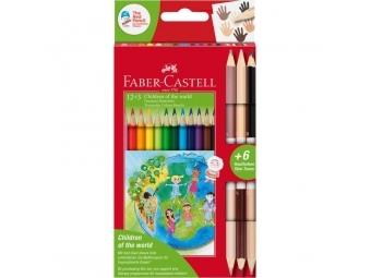 Faber-Castell pastelky Triangular Deti sveta,sada 12ks + 6 farebné