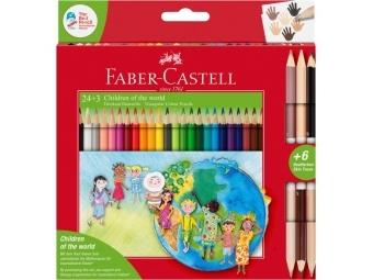 Faber-Castell pastelky Triangular Deti sveta,sada 24ks + 6 farebné