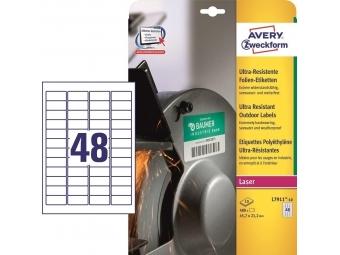 Avery Etikety polyetylénové, ultra odolné biele 45,7x21.2 mm (bal=10hár)