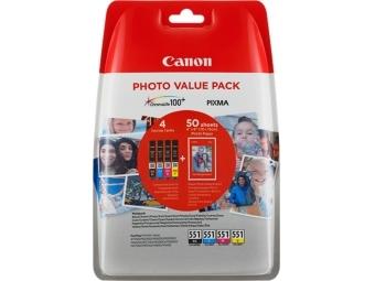 Canon CLI-551 Atramentová náplň Multipack, C/M/Y/K + 50x PP-201