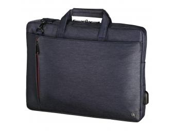 """Hama 101868 taška na notebook s integrovaným USB káblom Manchester, 34 cm (13,3""""), modrá"""