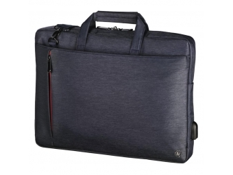 """Hama 101874 taška na notebook s integrovaným USB káblom Manchester, 44 cm (17,3""""), modrá"""