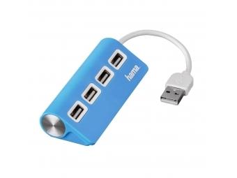 Hama 12179 USB 2.0 Hub 1:4, napájanie USB, modrý