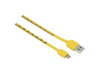 Hama 12326 micro USB kábel Meter, 1 m, meradlo, žltý