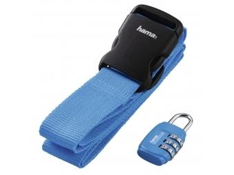Hama 128809 set popruhu a zámky na batožinu, modrý (cena za set)