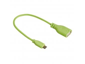 Hama 135706 micro USB OTG redukcia Flexi-Slim, obojstranný konektor, 15 cm, zelená