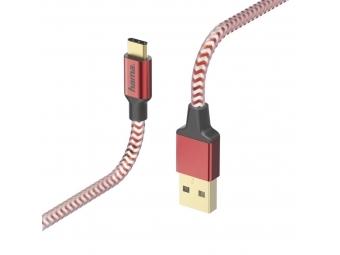 Hama 178296 kábel Reflective USB-C 2.0 typ A - typ C, 1,5 m, červená