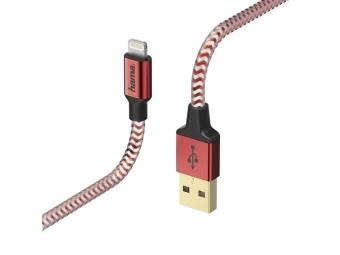 Hama 178299 MFI USB kábel Reflective pre Apple, Lightning vidlica, 1,5 m, červená