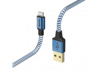 Hama 178300 MFI USB kábel Reflective pre Apple, Lightning vidlica, 1,5 m, modrá