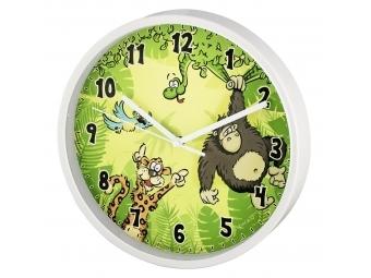 Hama 186376 Jungle detské nástenné hodiny, priemer 22,5 cm, tichý chod