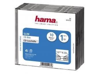 Hama 51275 CD BOX SLIM náhradný obal, 10 ks/bal., transparentná/čierna