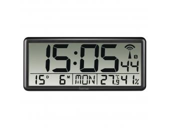 Hama 186352 Jumbo, digitálne nástenné hodiny, riadené rádiovým signálom, čierne