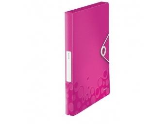 Leitz Box plastový s gumičkou WOW metalický ružový