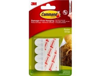3M Command Small 12ks biele lepiace pásky na lepenie plagátov