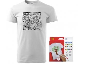 Pánske tričko s motívom omaľovánky + sada farebných popisovačov na textil