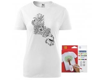 Dámske tričko s motívom omaľovánky + sada farebných popisovačov na textil