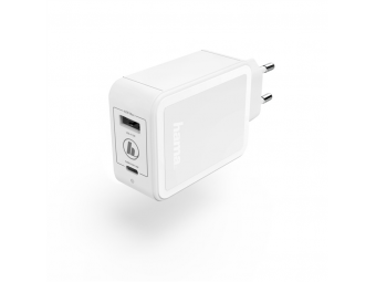 Hama 183320 rýchla sieťová USB nabíjačka USB-C + USB-A, QC 3.0 / PD, 42 W